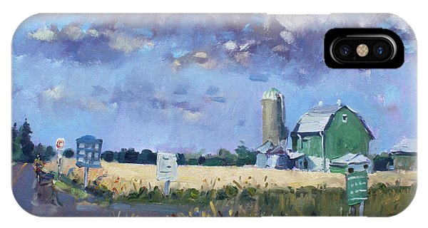 Barn iPhone Case - Green Barn In Glen Williams On by Ylli Haruni