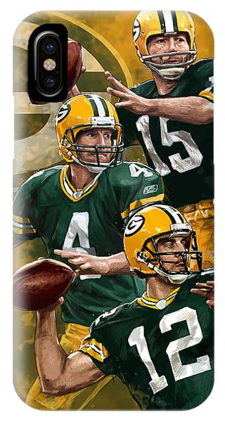 Digital iPhone Case - Green Bay Packers Quarterbacks by Nate Baranowski