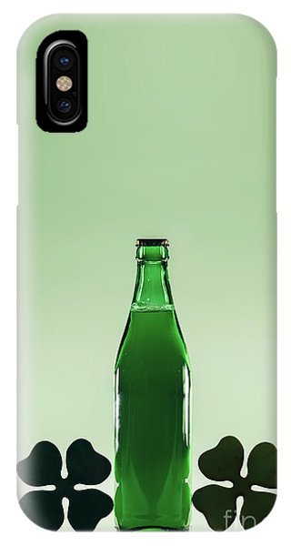 St. Patricks Day iPhone Case - Green Beer Bottle. St. Patric's Day Decoration by Michal Bednarek