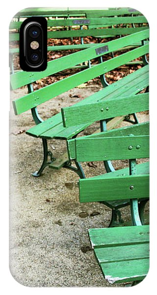 Park Bench iPhone Case - Green Benches- Fine Art Photo By Linda Woods by Linda Woods