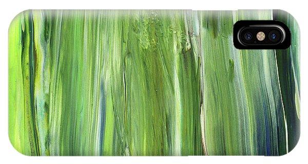 Organic Abstraction iPhone Case - Green Blue Organic Abstract Art For Interior Decor Iv by Irina Sztukowski