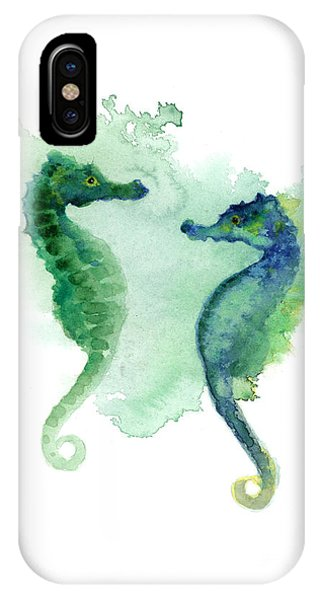 Seahorse iPhone Case - Green Blue Seahorses Watercolor Art Print by Joanna Szmerdt