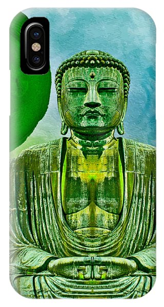IPhone Case featuring the mixed media Green Buddha by Lita Kelley