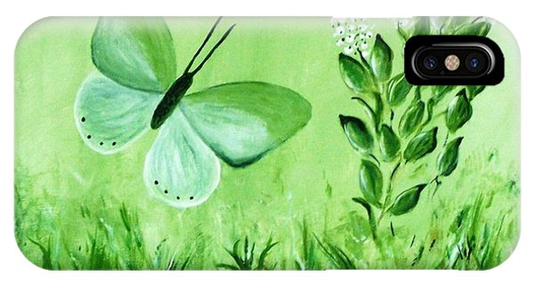 IPhone Case featuring the painting Green Butterfly by Sonya Nancy Capling-Bacle