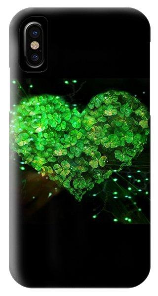 Green Clover Heart IPhone Case