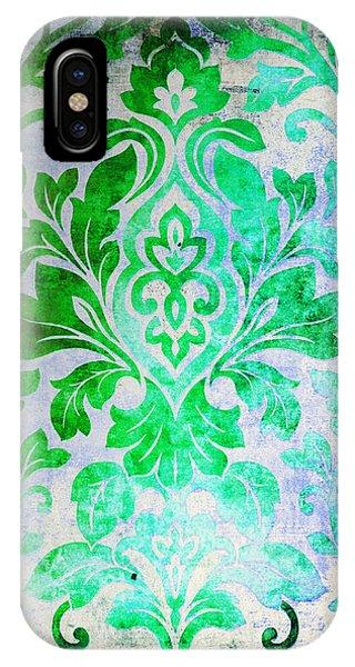 Green Damask Pattern IPhone Case