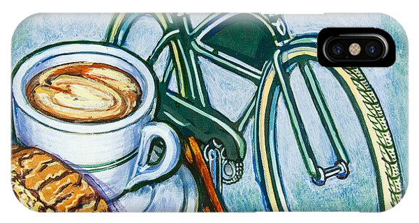 Green Electra Delivery Bicycle Coffee And Biscotti IPhone Case
