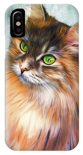 Green-eyed Maine Coon Cat - Remastered IPhone Case