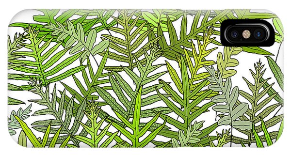 Green Fern Tangle On White IPhone Case