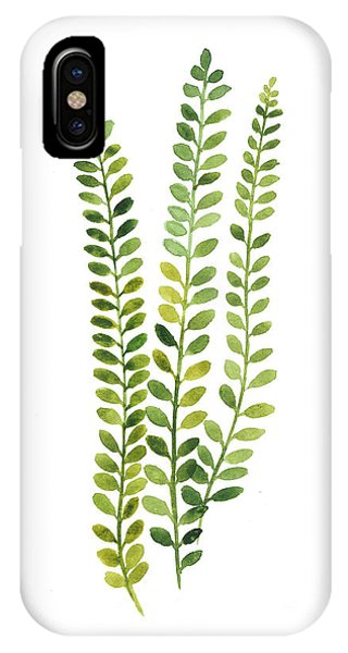 Green Fern Watercolor Minimalist Painting IPhone Case