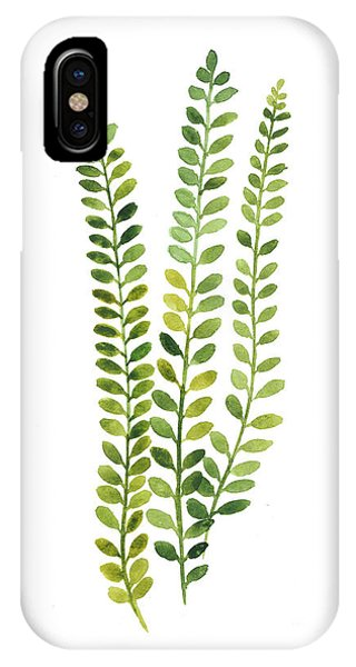 Garden iPhone X Case - Green Fern Watercolor Minimalist Painting by Joanna Szmerdt