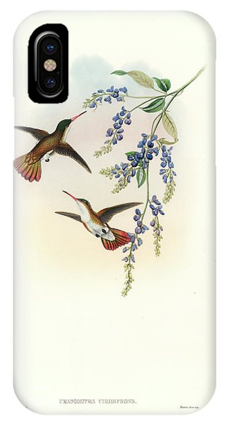 IPhone Case featuring the painting Green-fronted Hummingbird Amazilia Viridifrons by John and Elizabeth Gould