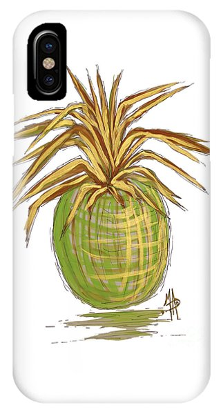 Green Gold Pineapple Painting Illustration Aroon Melane 2015 Collection By Madart IPhone Case