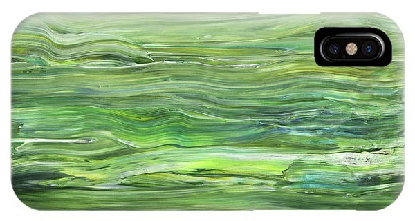 Organic Abstraction iPhone Case - Green Gray Organic Abstract Art For Interior Decor I by Irina Sztukowski
