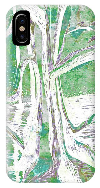 Green-grey Misty Morning River Tree IPhone Case