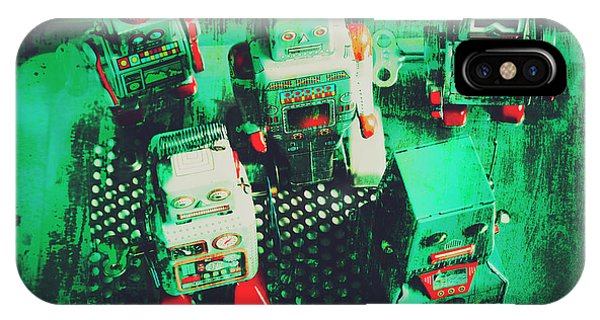 Electronic iPhone Case - Green Grunge Comic Robots by Jorgo Photography - Wall Art Gallery