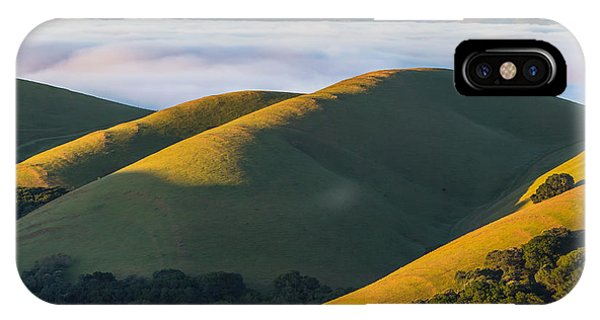 Green Hills And Low Clouds IPhone Case