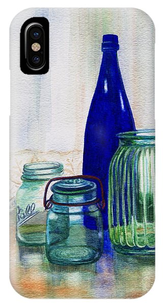Lid iPhone Case - Green Jars Still Life by Marilyn Smith