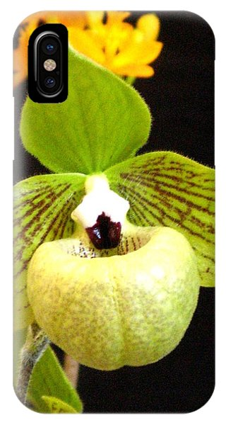 Green Ladyslipper Orchid IPhone Case