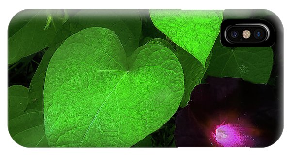 IPhone Case featuring the photograph Green Leaf Violet Glow by Roger Bester
