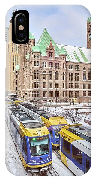 Green Line Train Leaves Minneapolis City Hall IPhone Case