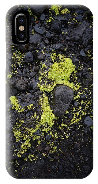 Green On Black On Iceland's Fimmvorduhals Trail IPhone Case