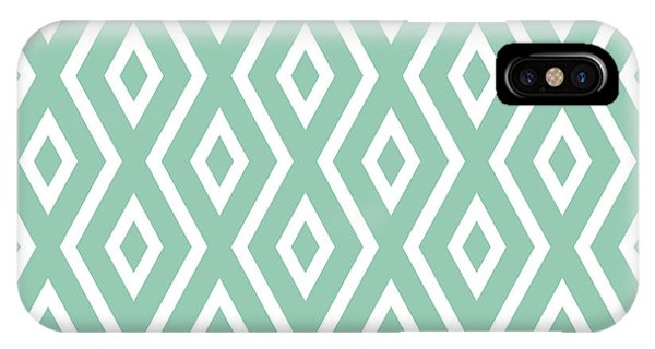 Diamond iPhone Case - Light Sage Green Pattern by Christina Rollo