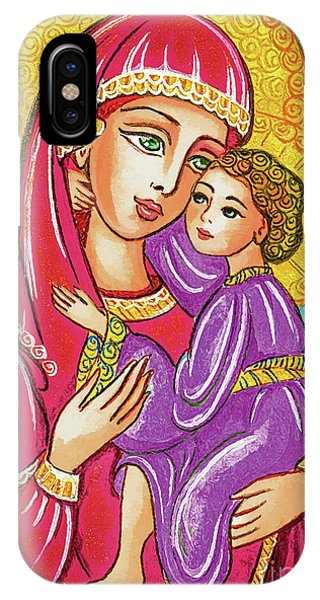 IPhone Case featuring the painting Green Ray Madonna by Eva Campbell