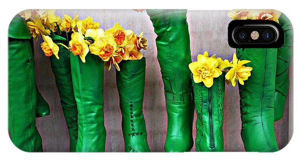 Green Shoes For Yellow Spring Flowers IPhone Case