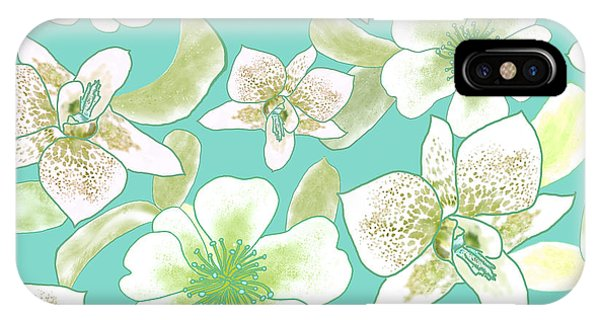 Green Spotted Orchids On Turquoise IPhone Case