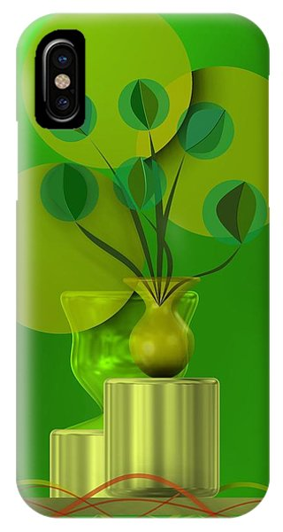 Green Still Life With Abstract Flowers, IPhone Case