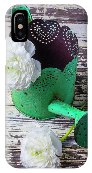 Green Watering Can And Ranunculus IPhone Case