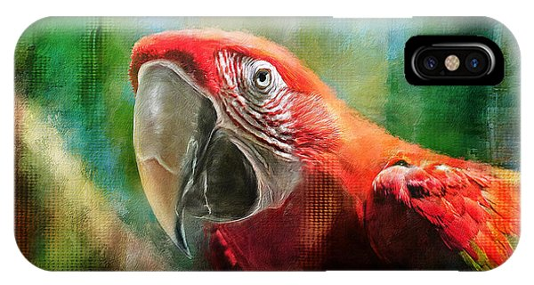 Macaw iPhone Case - Green Winged Macaw by Lois Bryan
