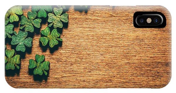 St. Patricks Day iPhone Case - Green Wooden Four Leaf Shamrocks On Wooden Board by Michal Bednarek