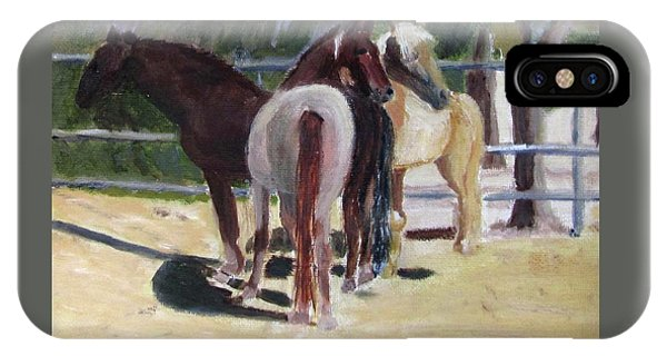 IPhone Case featuring the painting Gregory And His Mares by Linda Feinberg