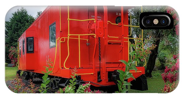 Red Caboose iPhone Case - Gretna Railroad Park by Steve Hurt
