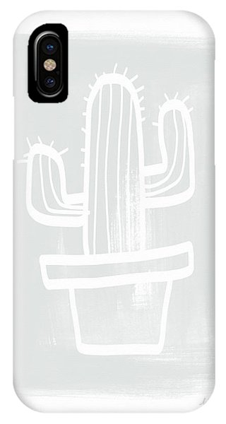 Cactus iPhone Case - Grey And White Cactus- Art By Linda Woods by Linda Woods
