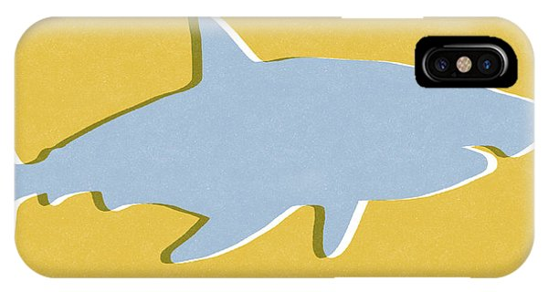 Wood iPhone Case - Grey And Yellow Shark by Linda Woods