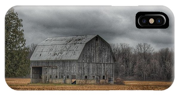 0024 - Grey Barn And Tree IPhone Case