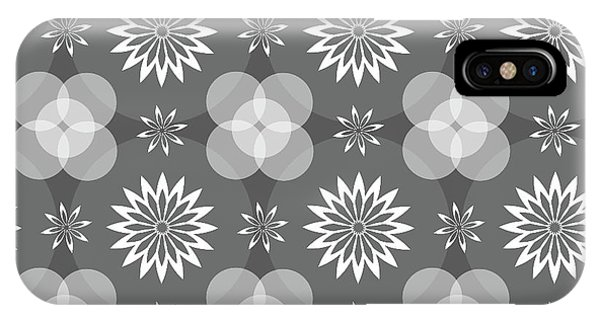 Grey Circles And Flowers Pattern IPhone Case