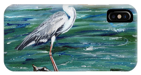 Grey Heron Of Cornwall -painting IPhone Case