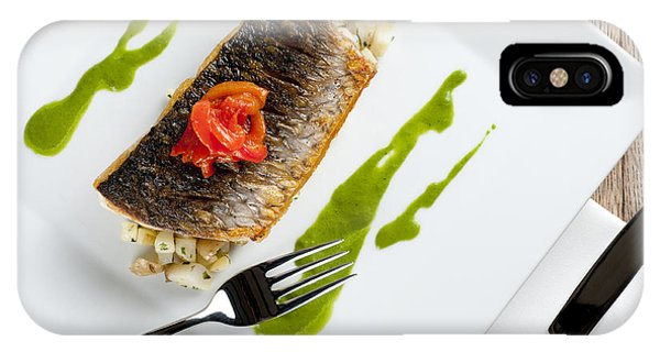 Grey Mullet With Watercress Sauce Presented On A Square White Plate With Cutlery And Napkin Phone Case by Andy Smy