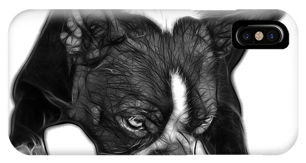 Greyscale Boston Terrier Art - 8384 - Wb IPhone Case