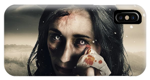 Anguish iPhone Case - Grim Face Of Horror Crying Tears Of Blood by Jorgo Photography - Wall Art Gallery