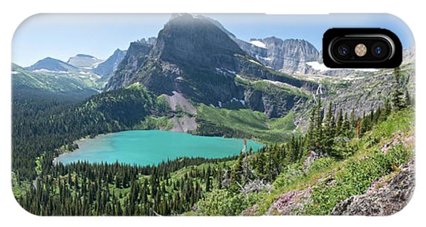 Grinnell Lake Panoramic - Glacier National Park IPhone Case
