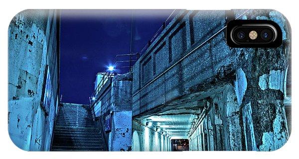Train Tracks iPhone Case - Gritty Dark Chicago City Street Under Industrial Bridge Viaduct At Night by Bruno Passigatti