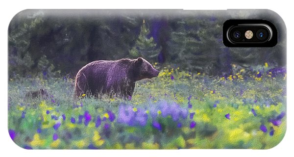 Grizzly And Cub In Spring Flowers IPhone Case