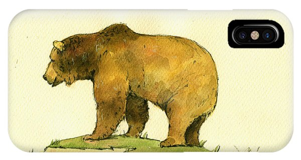Grizzly Bear Watercolor Painting IPhone Case