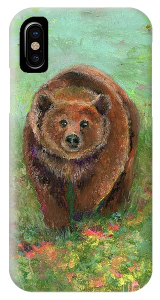 IPhone Case featuring the pastel Grizzly In The Meadow by Lauren Heller