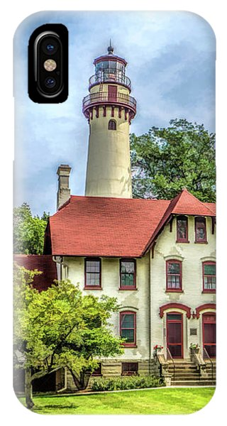 IPhone Case featuring the painting Grosse Point Lighthouse by Christopher Arndt